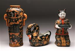 Sale 9119 - Lot 143 - A matched set of Chinese ceramics inc vase (H:37cm) figural lady (H:34cm) and a swan (L:26cm)