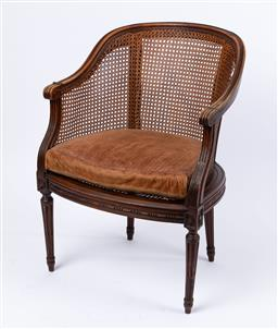 Sale 9135H - Lot 122 - A cane French armchair, Mid 20Th Century . 84cm Height