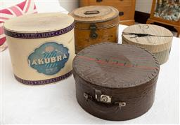 Sale 9260M - Lot 74 - A collection of 4 hat boxes inc Akubra and an antique tin Example, height of larger 32cm