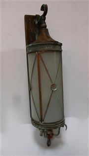 Sale 8272A - Lot 84 - A French Art Deco style aged copper / brass wall lantern. Three light capacity and recently rewired with etched glass panels.  Siz...