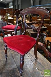 Sale 8485 - Lot 1020 - Set of Eight William IV Mahogany Dining Chairs, with carved rails, red buttoned velvet seats & cabriole legs