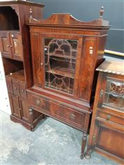 Sale 8740 - Lot 1007 - Raised Timber Hall Cabinet with Glass Panel Door & Single Drawer