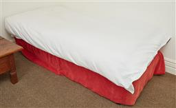 Sale 9108H - Lot 48 - A single bed and bedding including a double valance & an electric blanket