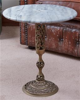 Sale 9103H - Lot 53 - A marble topped metal based occasional table, Height 45cm x Diameter 39cm