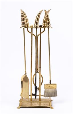 Sale 9135H - Lot 128 - A good quality set of 20th Century brass fire tools. 81cm Height