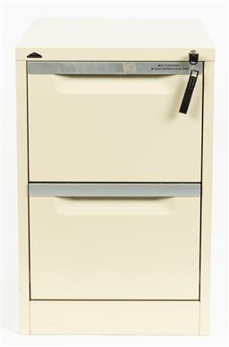 Sale 9099 - Lot 295 - A filing cabinet with key, Height 72cm x Width 48cm x Depth 64cm