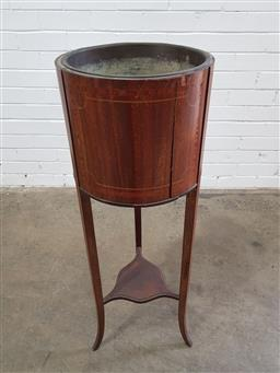 Sale 9162 - Lot 1031 - Edwardian Inlaid Mahogany Jardiniere Stand, round with metal liner, raised on three outswept legs joined by a shelf (h:97 x d:32cm)
