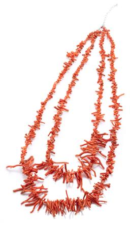 Sale 9169 - Lot 368 - A DOUBLE STRAND BRANCH CORAL NECKLACE; graduated 4.5-30mm long coral pieces to silver lobster claw clasp, length 55cm and 60cm, wt....