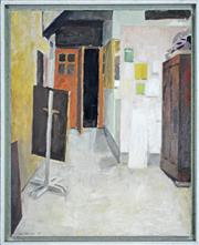 Sale 8011A - Lot 93 - Una Foster (1912 -) - Interior at Night, 1967 (old entrance to workshop Arts Centre, Willoughby) 48 x 38cm