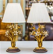Sale 8287A - Lot 67 - An absolutely charming & rare Hollywood Regency / Tole lamps with timber bases & original gold leaf gilded / painted finish. These c...