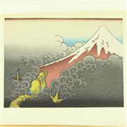 Sale 8304A - Lot 77 - Japanese Set of 10 Gold Folios Containing Various Scenic Woodblock Prints