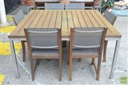 Sale 8338 - Lot 1382 - Royal Botania Outdoor Setting incl. Table with Six Chairs incl. Two Carvers (H 74 x D 150 x W 150)