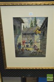 Sale 8429A - Lot 2007 - Artist Unknown (XIX - XX) - Village Scene 36 x 27cm