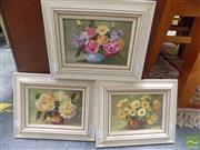 Sale 8513 - Lot 2052 - S Whitley (3 works) Still Life Flowers, oils on canvas board, each 20 x 25cm & signed lower right