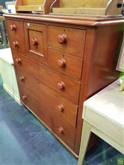 Sale 8559 - Lot 1068 - Late Victorian / Edwardian Kauri Pine Chest of Seven Drawers, raised on turned feet