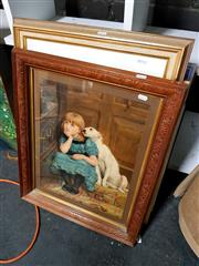 Sale 8686 - Lot 2081 - C19th Chromolithograph Girl and Dog and a Decorative Print.