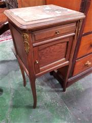 Sale 8777 - Lot 1053 - Early 20th Century French Oak Bedside Cabinet, with marble top, a drawer & panel door, on splayed legs