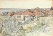 Sale 8821 - Lot 510 - Sydney Ure Smith (1887 - 1949) - Untitled, 1943 (Overlooking Houses and Bay) 21.5 x 32.5cm