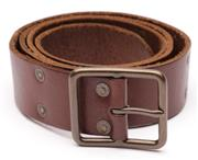 Sale 9080F - Lot 52 - A POLO RALPH LAUREN GENTS BELT; brown leather, full length double row of low profile brass studs, 5 hole adjustment, size 40/100.