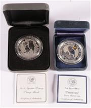 Sale 9035M - Lot 886 - The Perth Mint 1 oz fine silver $1 coin with phoenix privy mark together with a 1oz fine silve $1 proof coin with 1919 square penny...