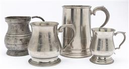 Sale 9099 - Lot 63 - A group of four tankards, Tallest 16cm
