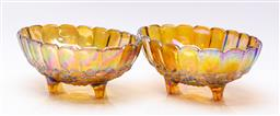 Sale 9185 - Lot 97 - A pair of carnival glass footed bowls (W:31.5cm)