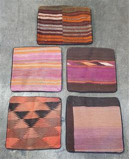 Sale 9188 - Lot 1377 - Collection of five Persian hand knotted pure wool cushion covers (40 x 40cm)