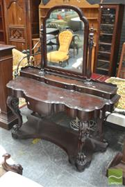 Sale 8291 - Lot 1048 - Victorian Mahogany Dressing Table, with turned supports, four trinket drawers & carved cabriole legs resting on platform