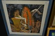 Sale 8495 - Lot 2056 - Painting of Woman and Bird in Frame