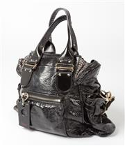 Sale 8541A - Lot 17 - A Chloe shoulder bag in soft black patent leather with gilt hardware, W of bag 42cm