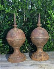 Sale 8706A - Lot 28 - A pair of cast iron finials /spires, general wear, surface rust H 50cm