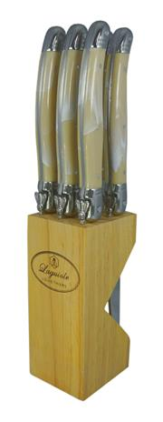 Sale 8916L - Lot 84 - Laguiole by Louis Thiers 6-piece Luxe Steak Knife Set in Timber Block - Marble Ivory Colour