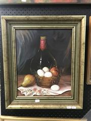 Sale 9033 - Lot 2095 - J Szabo Pear, Eggs and Wine oil on canvas 53 x 45cm (frame) signed lower right
