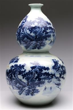 Sale 9098 - Lot 229 - Double Gourd blue and white vase featuring village scene (H49cm)