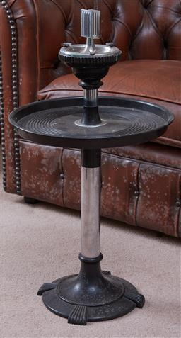 Sale 9103H - Lot 54 - A deco smokers stand complete with vesta holder, Total Height 70cm x Diameter approx 39cm