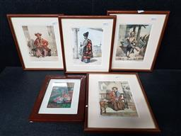 Sale 9254 - Lot 2064 - ERNEST HARDOUIN (four works), Javanese Scenes, book plates, frame: 30 x 25 cm each,first printed by Lemercier, Paris together with a...