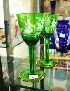 Sale 7346 - Lot 27 - A PAIR OF GREEN GLASS MARY GREGORY GOBLETS