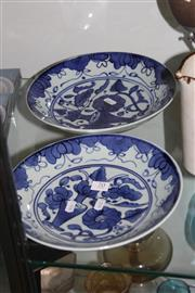 Sale 8160 - Lot 70 - Japanese Blue & White Pair of Plates