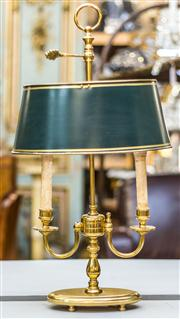Sale 8287A - Lot 68 - A French Bouilette lamp with green oval painted metal / brass shade, 62cm high x 20cm wide x 33cm (shade at its widest point)