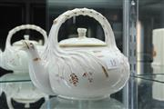 Sale 8288 - Lot 15 - Belleek Grass  Kettle with Black Mark (1863-1890)