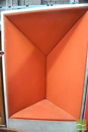 Sale 8310 - Lot 1011 - Large Metallic Framed Chair with Orange Velvet Upholstery