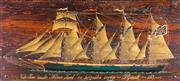Sale 8530A - Lot 50 - Artist unknown, - 19th Century Sailing boat study Oil on board (old Coffer lid)