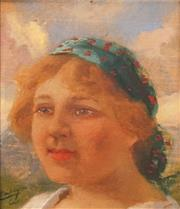 Sale 8583A - Lot 5018 - Carolus Pallya (1875 - 1950)  - Portrait of Gypsy Woman 10 x 9cm