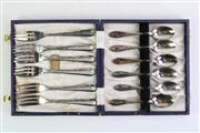 Sale 8860V - Lot 98 - Small Cased Set of EPNS Desert Forks and Teaspoons