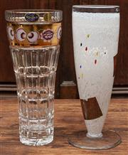 Sale 8942H - Lot 82 - A Kosta Boda studio glass vase together with a Bohemian crystal example