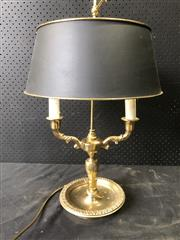Sale 9014 - Lot 1028 - Brass Bouillotte Table Lamp, with two electric candle-light branches & black tole shade (h:57cm)