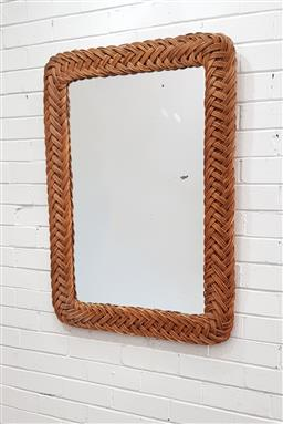 Sale 9102 - Lot 1066 - Large cane framed mirror (h102 x w73cm)