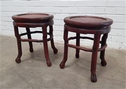 Sale 9142 - Lot 1049 - Pair of Chinese Rosewood Occasional Tables or Pedestals, with circular tops, stretchers & ball-and-claw feet (h:48 w:41 d:34cm)
