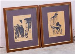 Sale 9150H - Lot 189 - Two framed works by John Wheatley 1981, Cobbler 1888 and Poor boys, ink on paper, frame size 41cm x 52.5cm