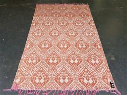 Sale 9188 - Lot 1328A - Red & white floor rug (220x147cm)